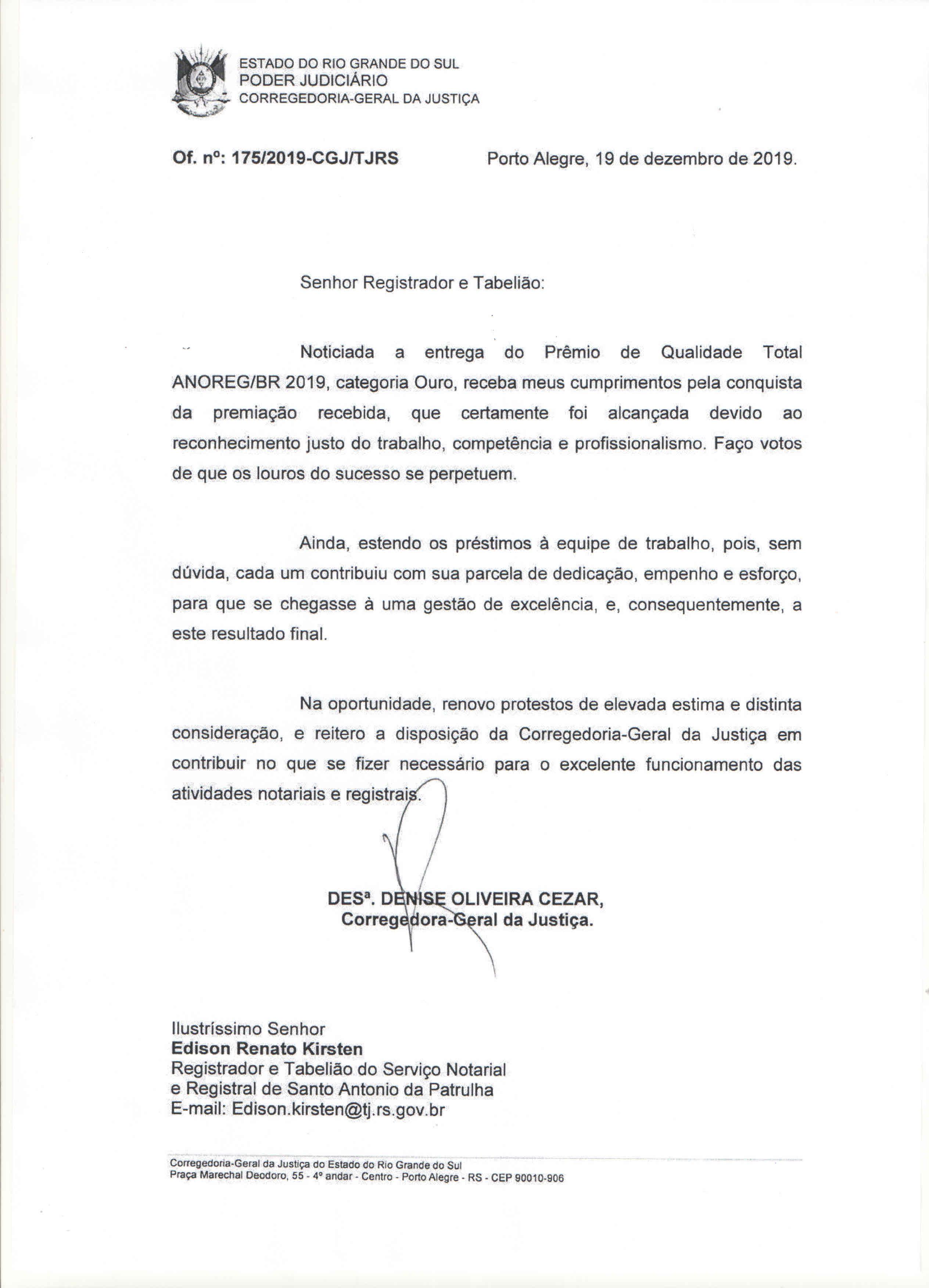 CORREGEDORIA GERAL DA JUSTIÇA PARABENIZA O CARTÓRIO KIRSTEN